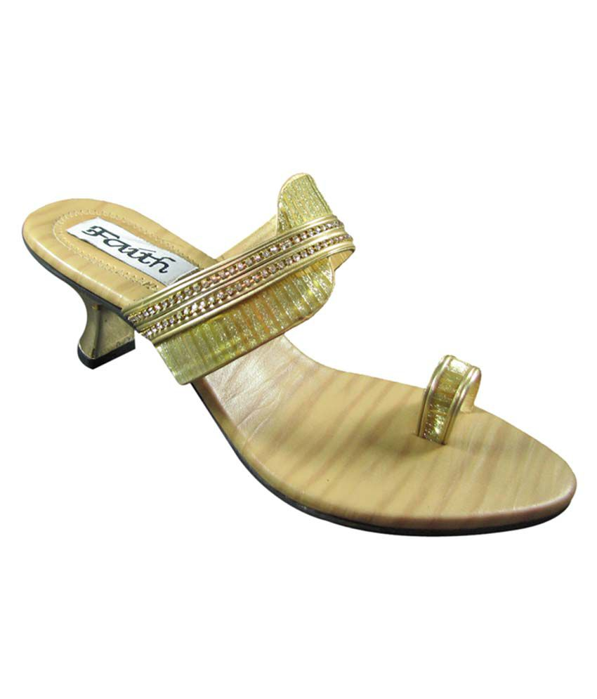 Faith Gold Faux Leather Toe Ring Back Open Resin sheet Sandals