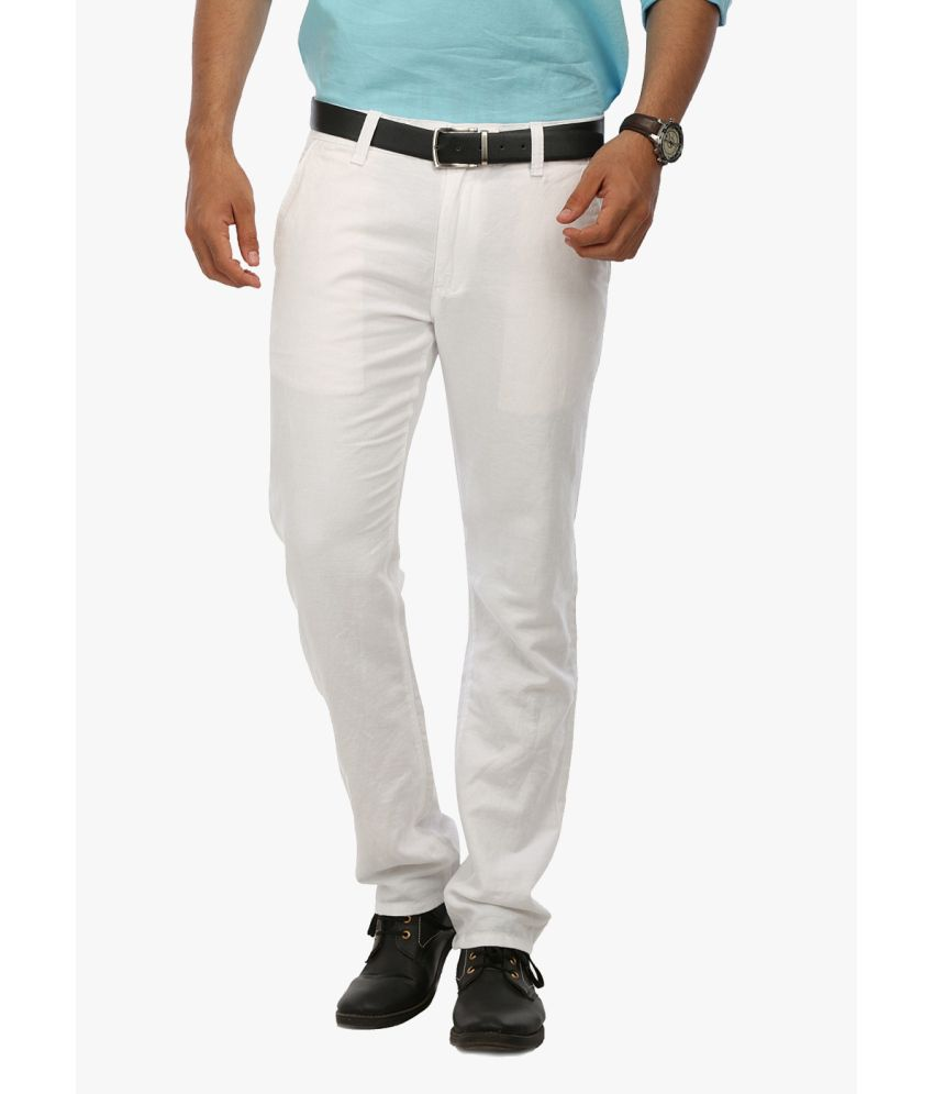Wear Your Mind White Linen Casual Trouser