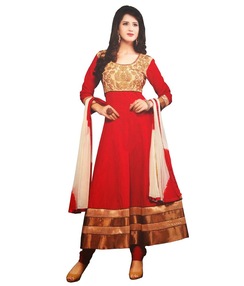 Hasi Red Cotton Stitched Suit