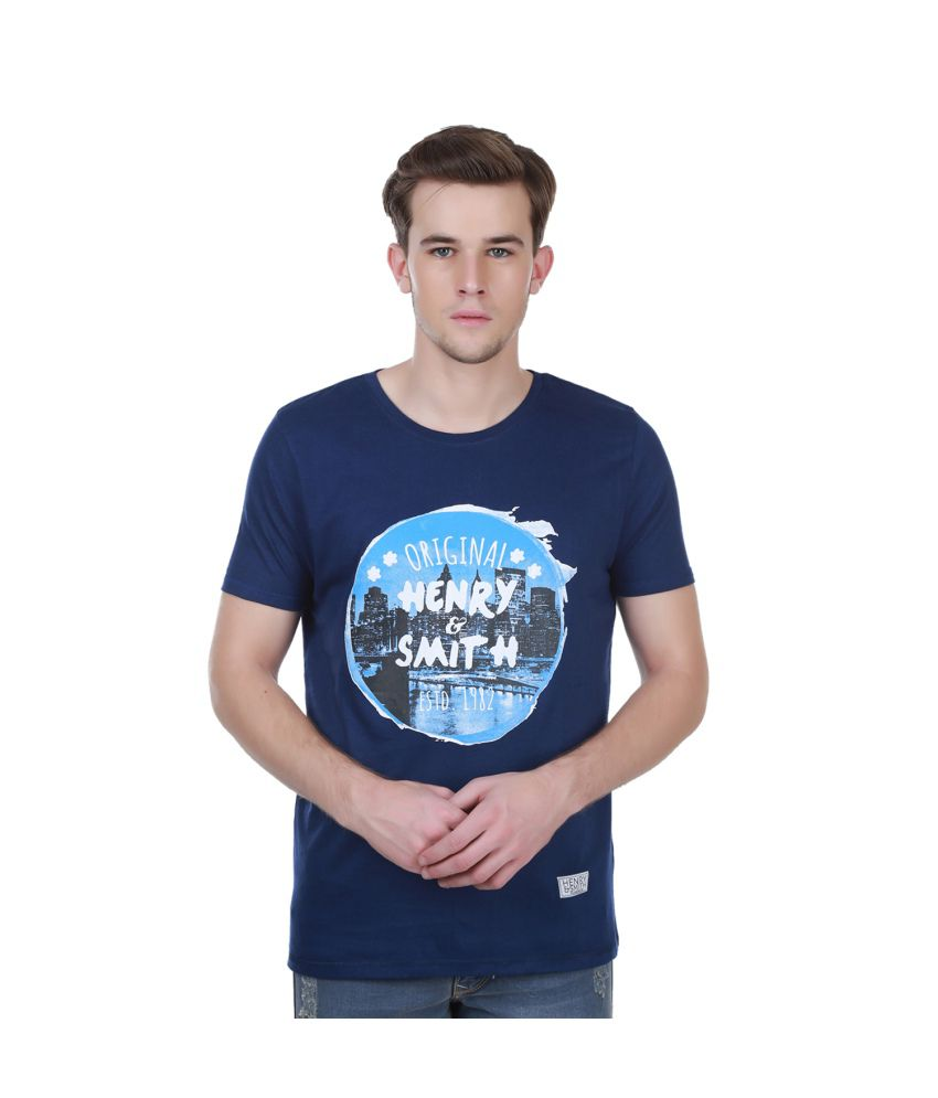 Henry And Smith Blue Solid Printed T Shirt