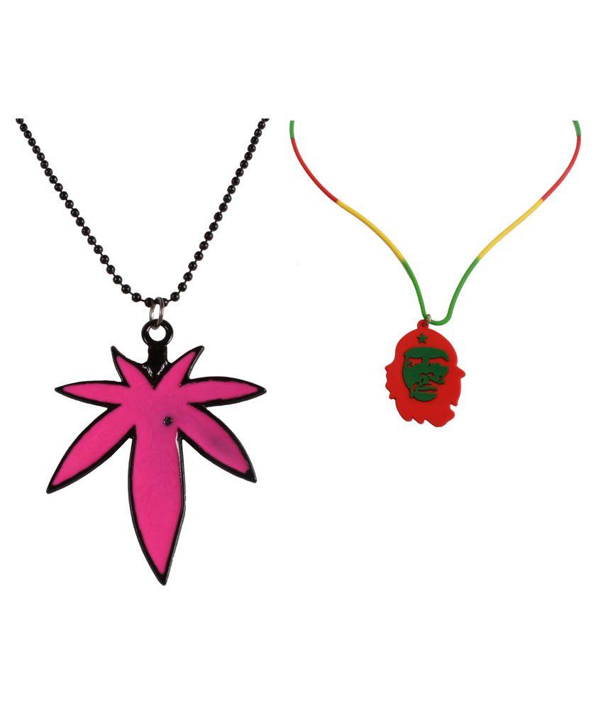Jstarmart Pink Floral Pendent and Bob Marley Necklace