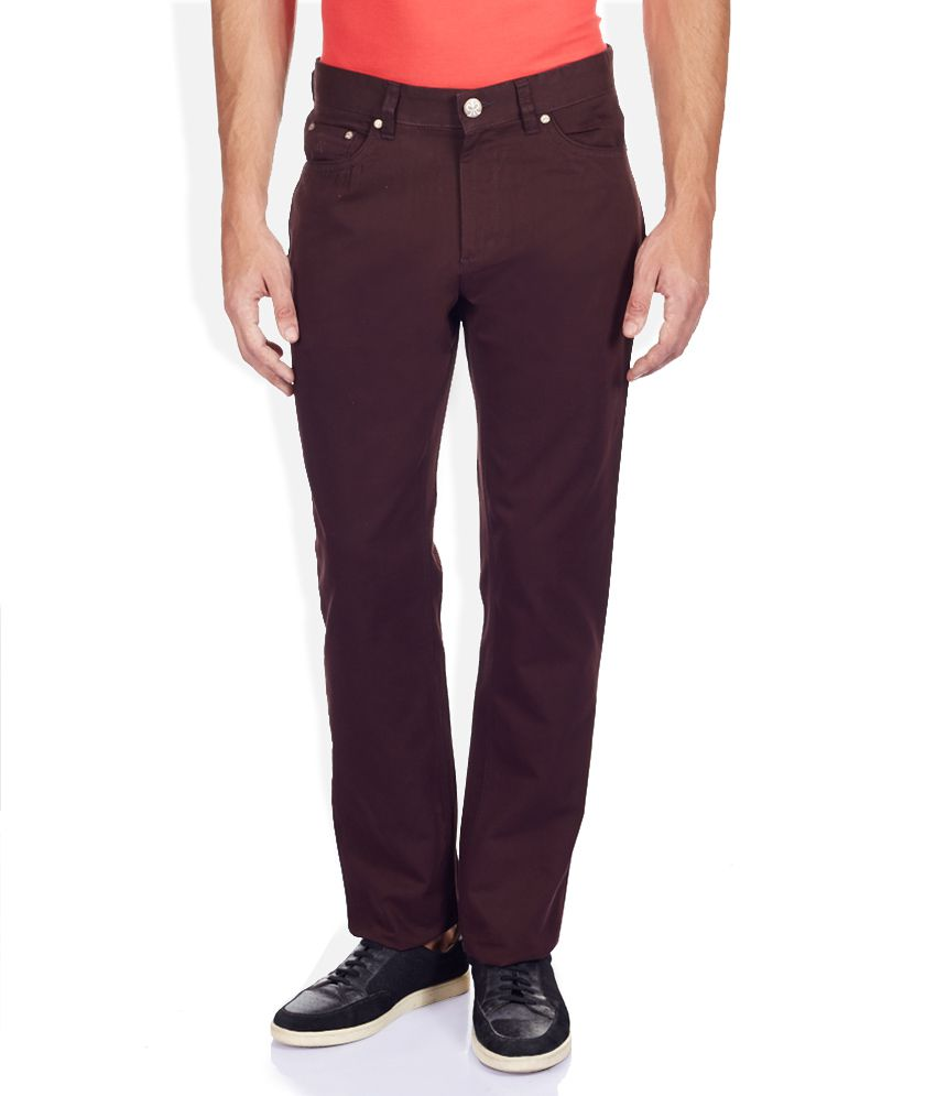 Raymond Maroon Solid Flat Front Trousers