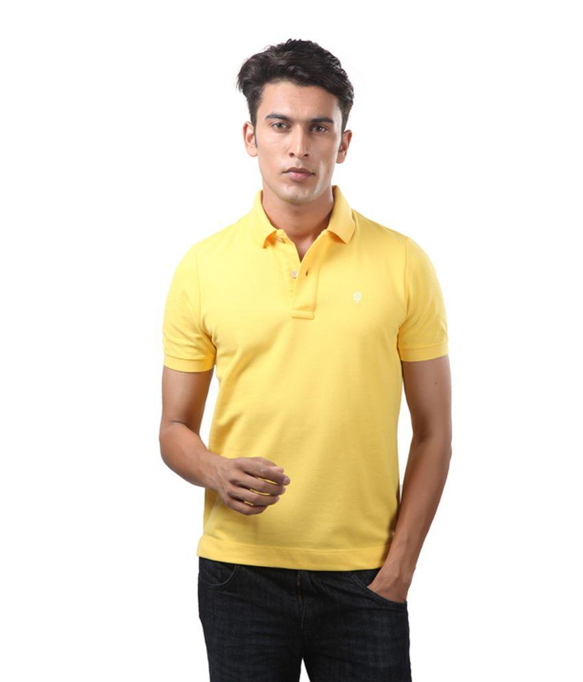 Uni Style Image Yellow Cotton Blend T-shirt