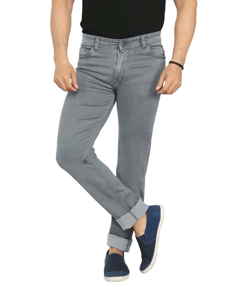 X20 Jeans Gray Cotton Blend Jeans For Men