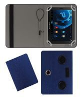 ACM Portable 360 Degree Rotating Music Speaker & Leather Flip Cover For Bsnl Penta Ws707C Tablet Case Stand - Blue