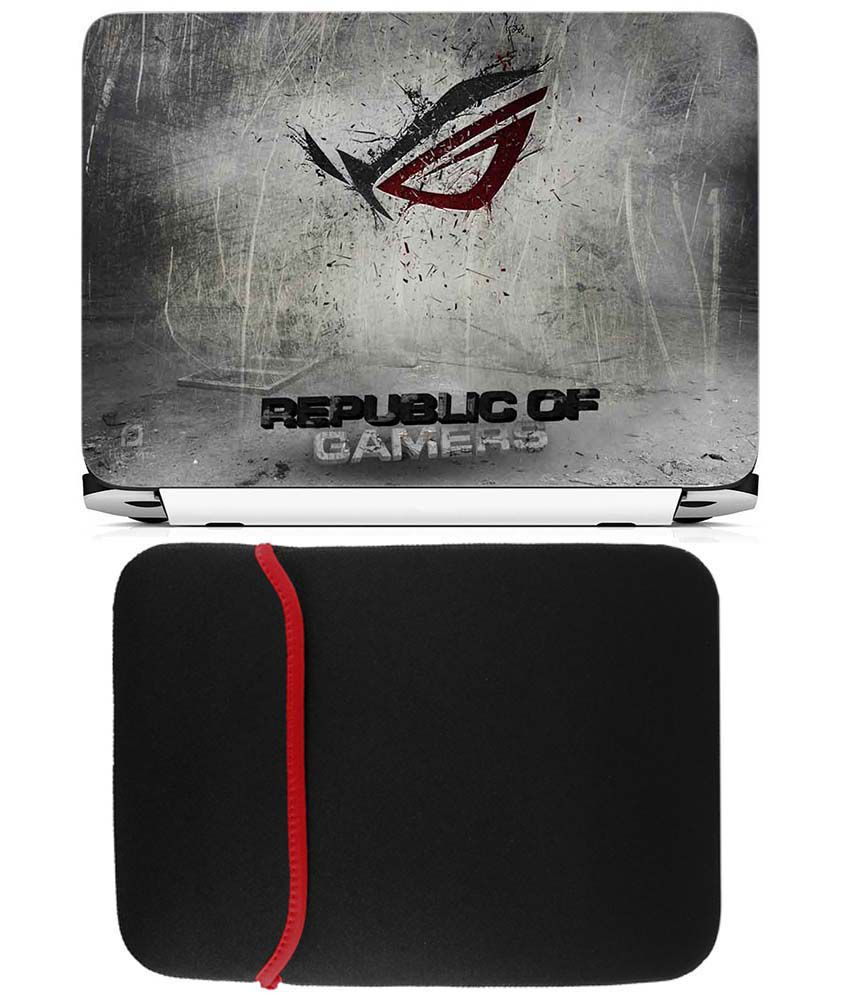 Anwesha's Reversible Laptop Sleeve With Laptop Skin - Republic Of Gamers