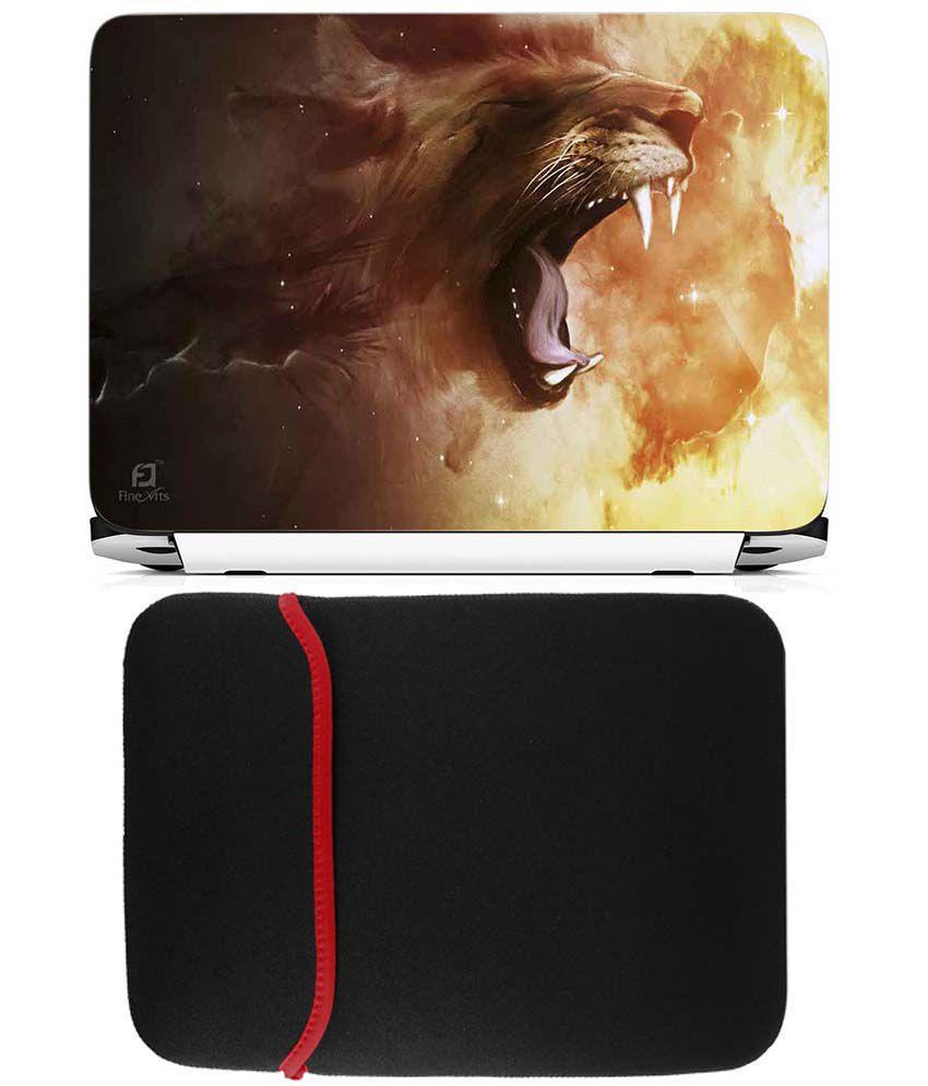 Anwesha's Reversible Laptop Sleeve With Laptop Skin - Lion Roaring