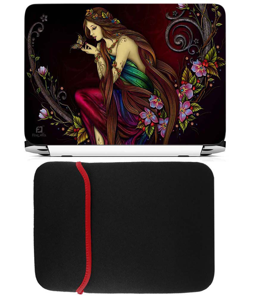 Anwesha's Reversible Laptop Sleeve With Laptop Skin - Girl Painting