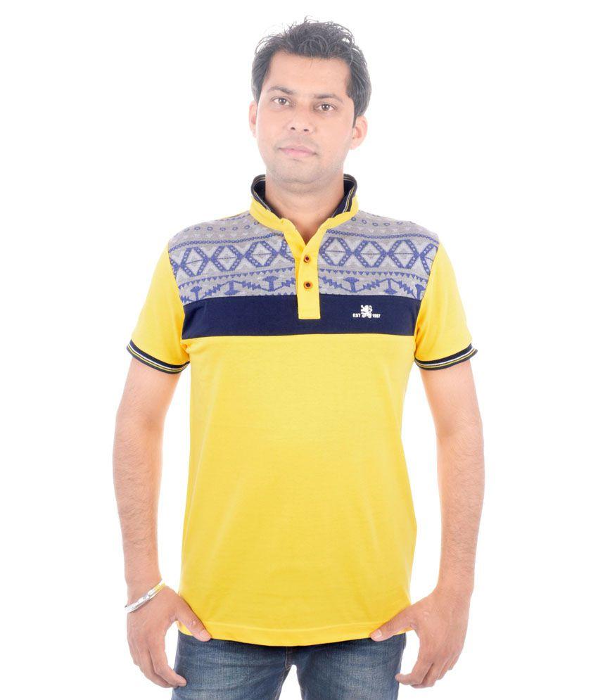Brandwear Yellow Cotton Half Sleeves T Shirt