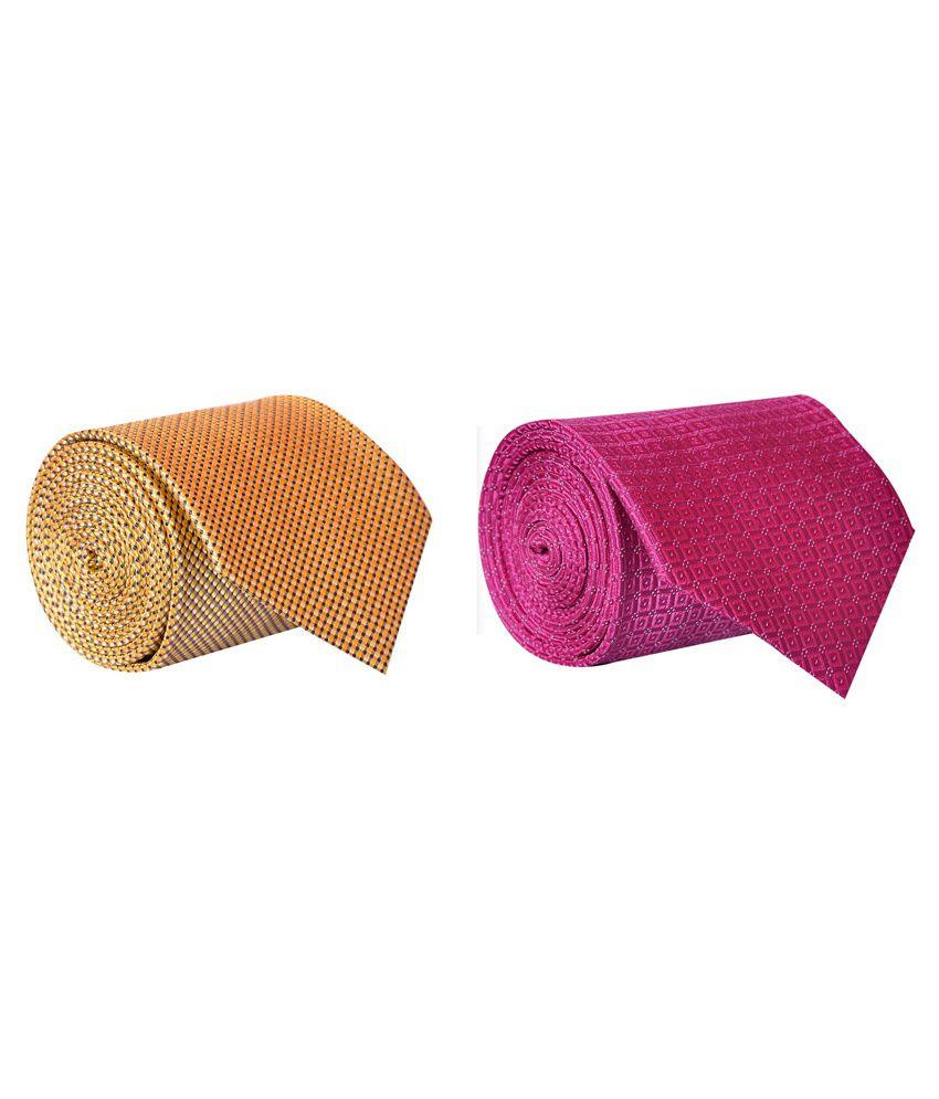 Elite NeckTie Pink And Yellow Geometrical Regular Tie- Combo of 2