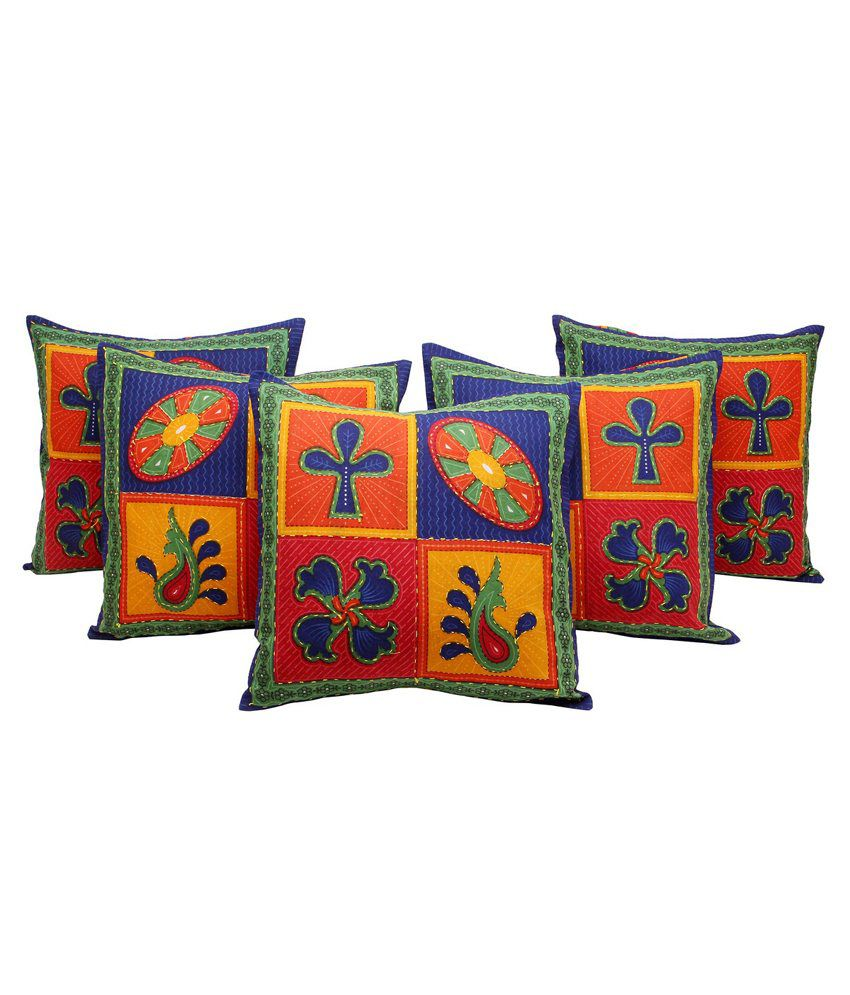GRJ India Traditional Kantha Work Floral Print Cushion Cover Set-5 pcs