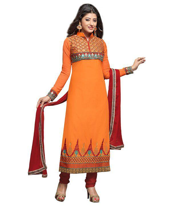 Monalisa Fabrics Ethnic Orange Cotton Unstitched Salwar Suit