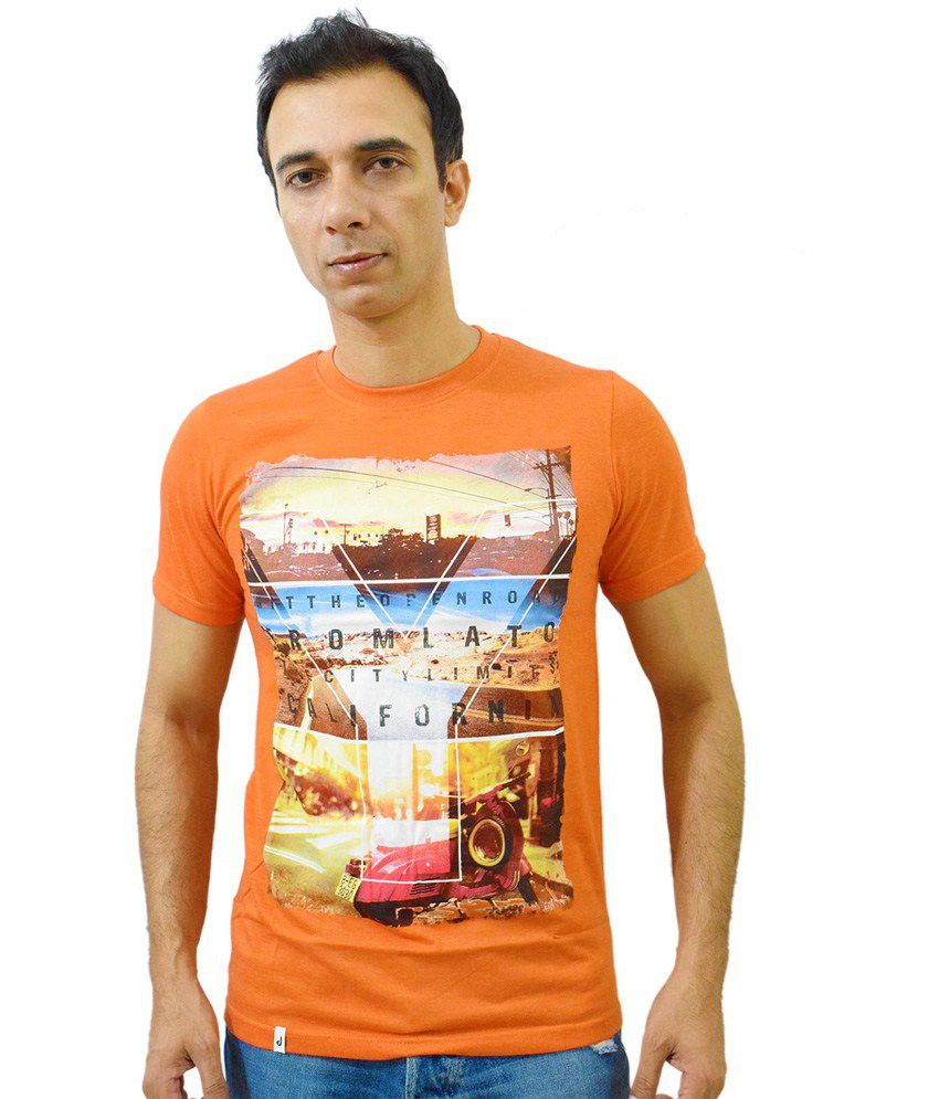 Puffz Orange Cotton Blend Round Neck T-Shirt