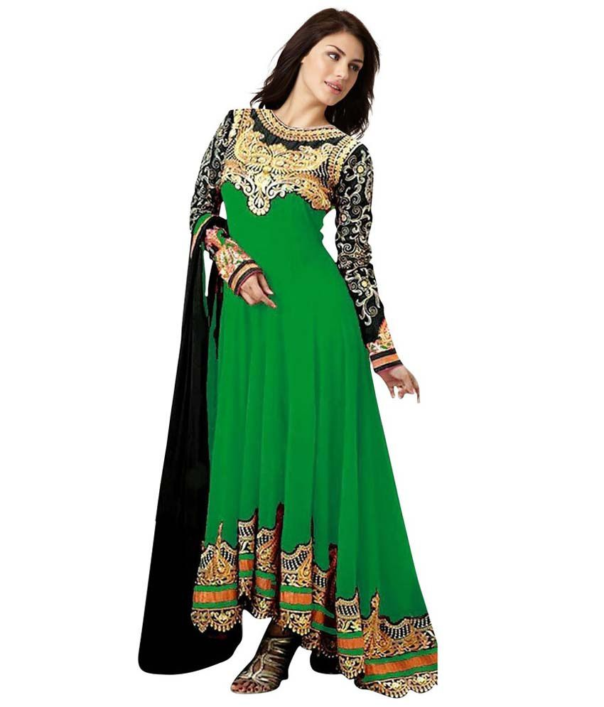 Banjara Sellers Green Pure Georgette Unstitched Dress Material