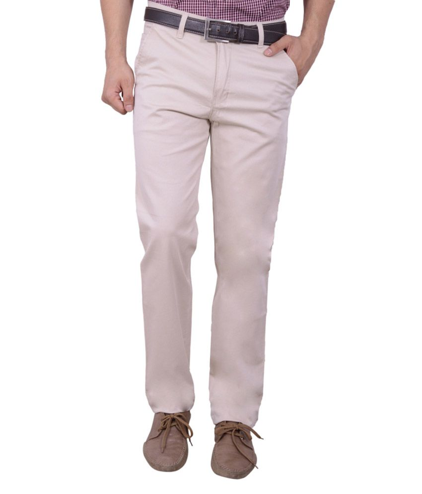 Studio Nexx Beige Cotton Lycra Regular Fit Trouser For Men