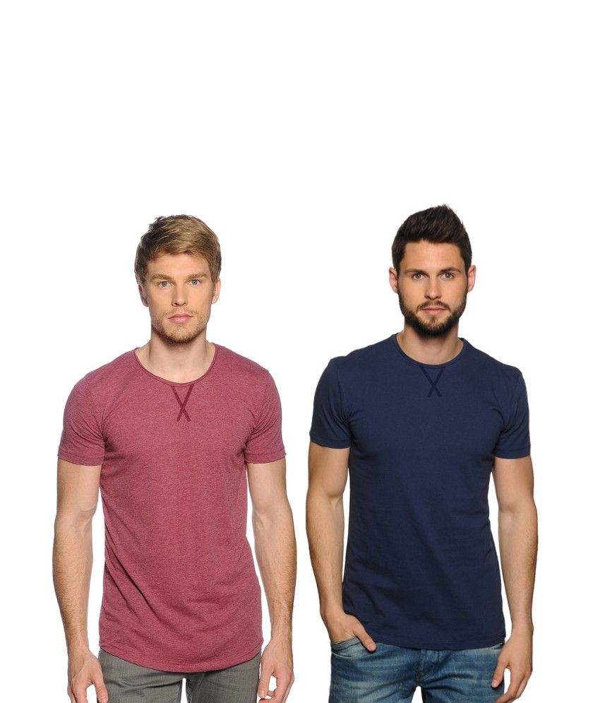 Zachi Combo Of Maroon And Blue Cotton T-shirts