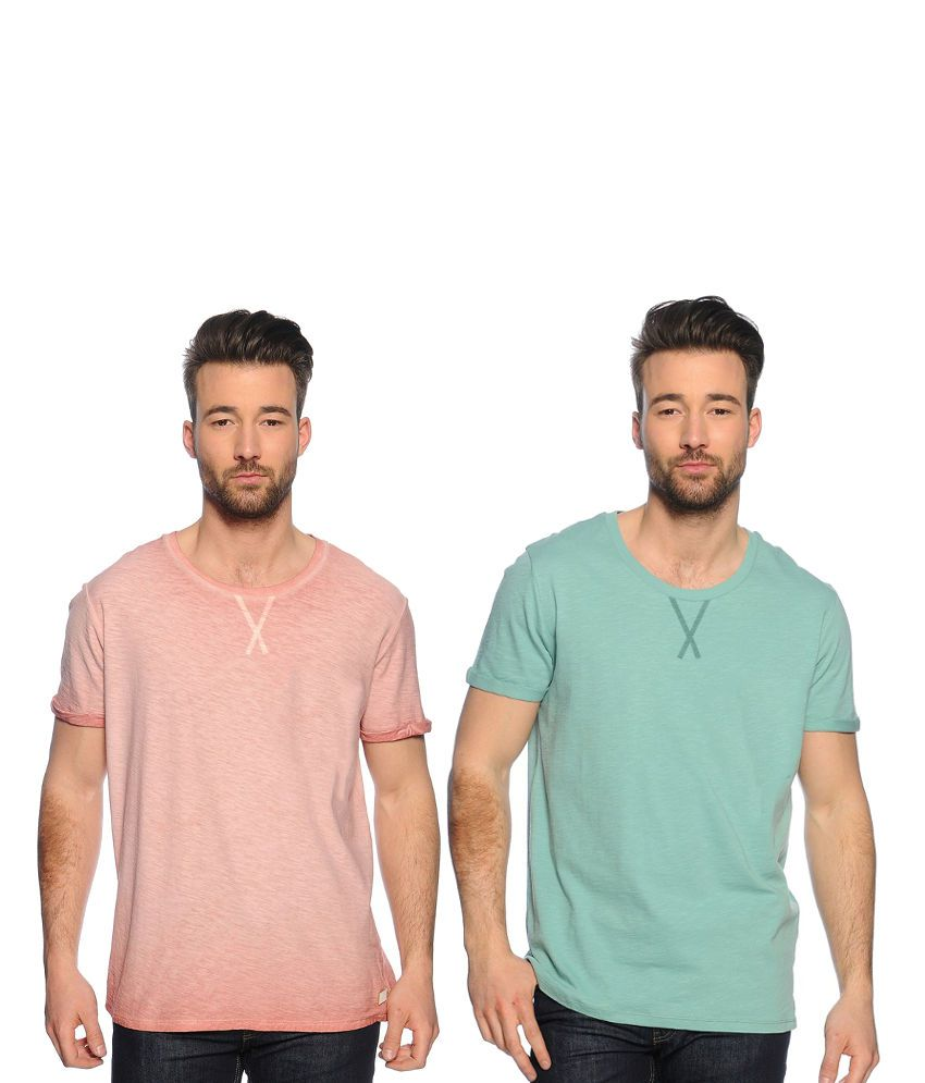 Zachi Combo Of Pink And Green Cotton T-shirts