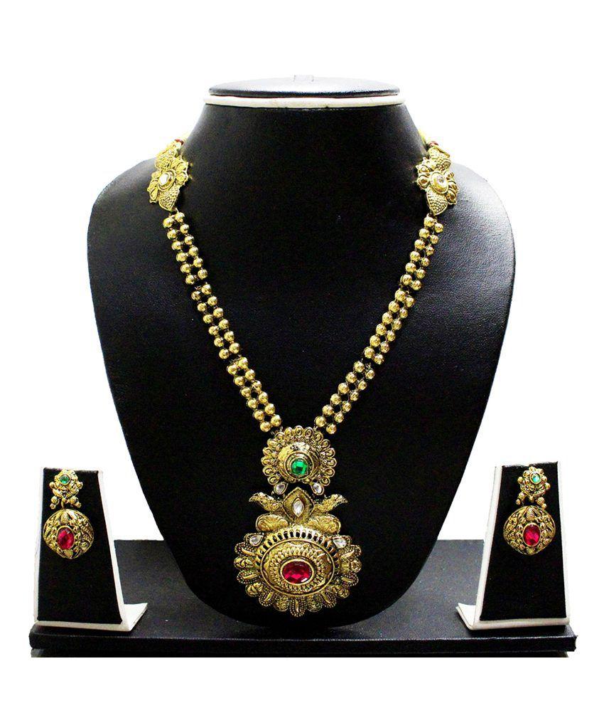 Zaveri Pearls Golden Alloy Kundan Necklace Set
