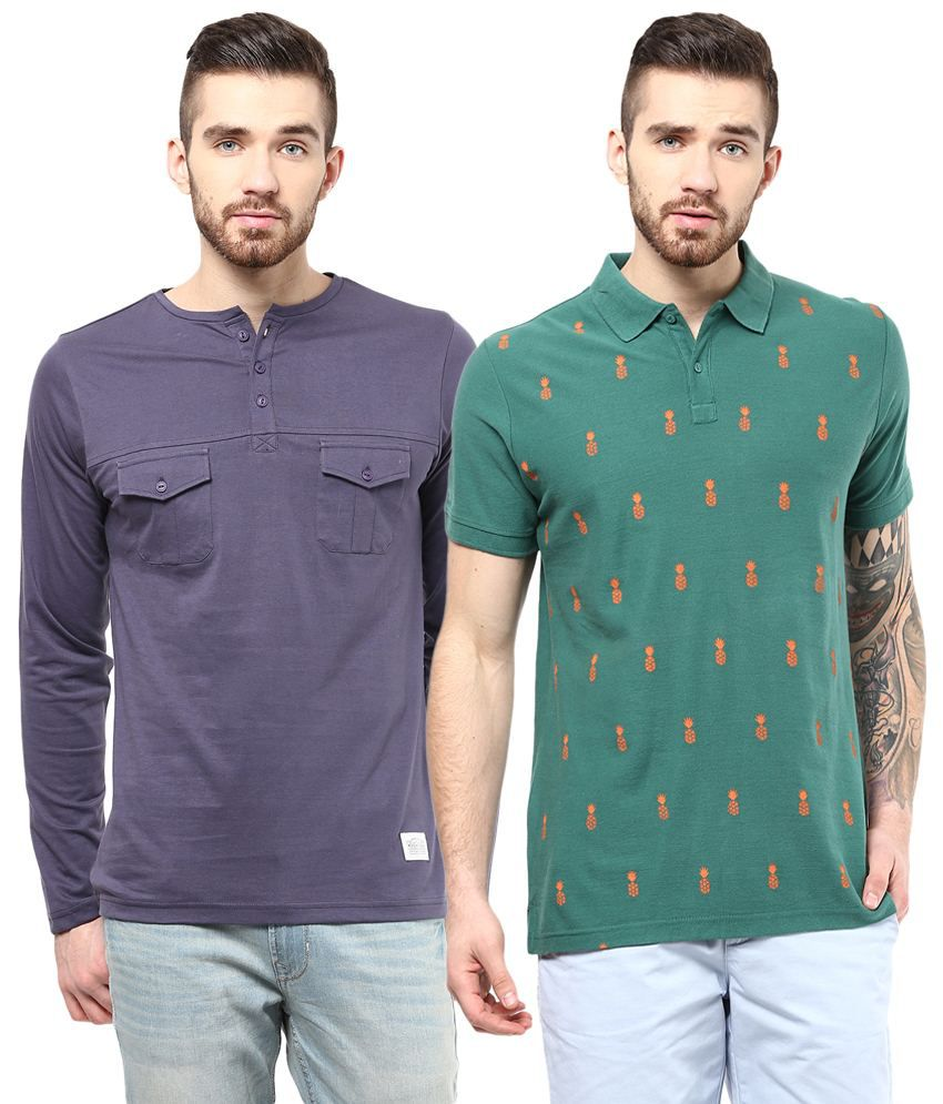 Atorse Superior Pack of 2 Purple & Green Full Sleeve T Shirts for Men