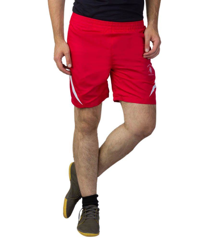 Greenwich United Polo Club Red Polyester Shorts