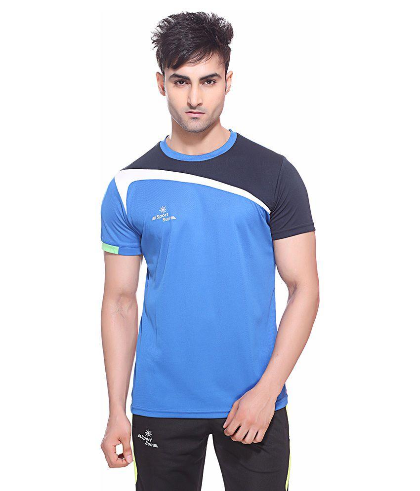 Sport Sun Blue Polyester Fitness T Shirt