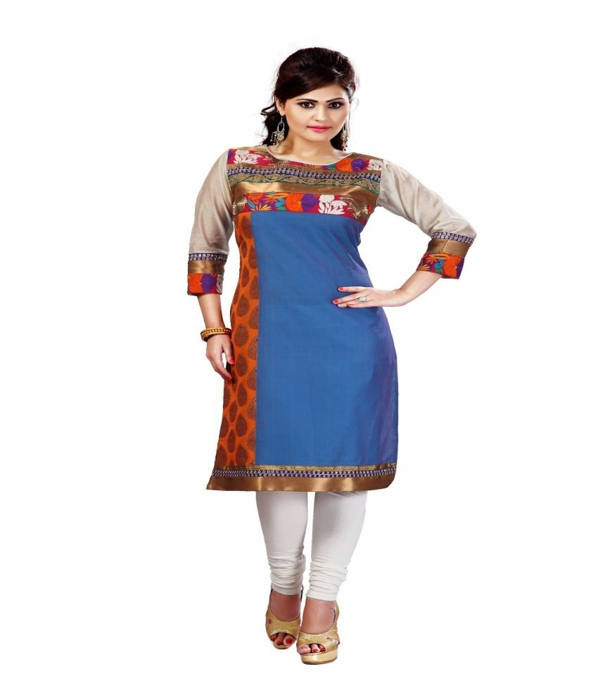 Lucky Infra Blue Art Silk Unstitched Dress Material