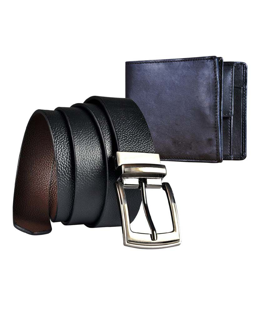 Saugat Traders Genuine Leather Reversible Belt And Wallet Combo