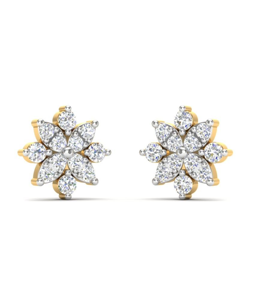 Theme Jewels Casual ER-0053, Certified Real Diamond & 14Kt Hallmarked Yellow Gold Earring