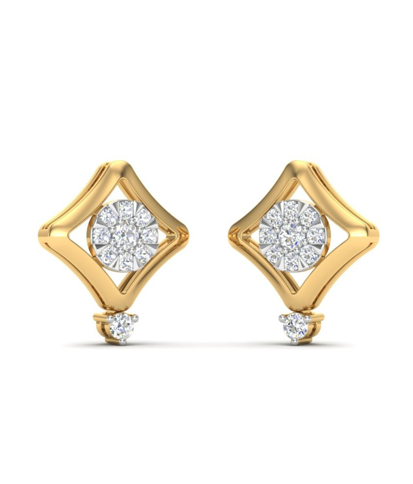 Theme Jewels Casual ER-0063, Certified Real Diamond & 14Kt Hallmarked Yellow Gold Earring