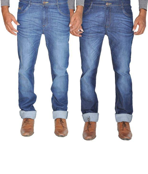 Wrangler Blue Cotton Men Jeans Pack Of 2