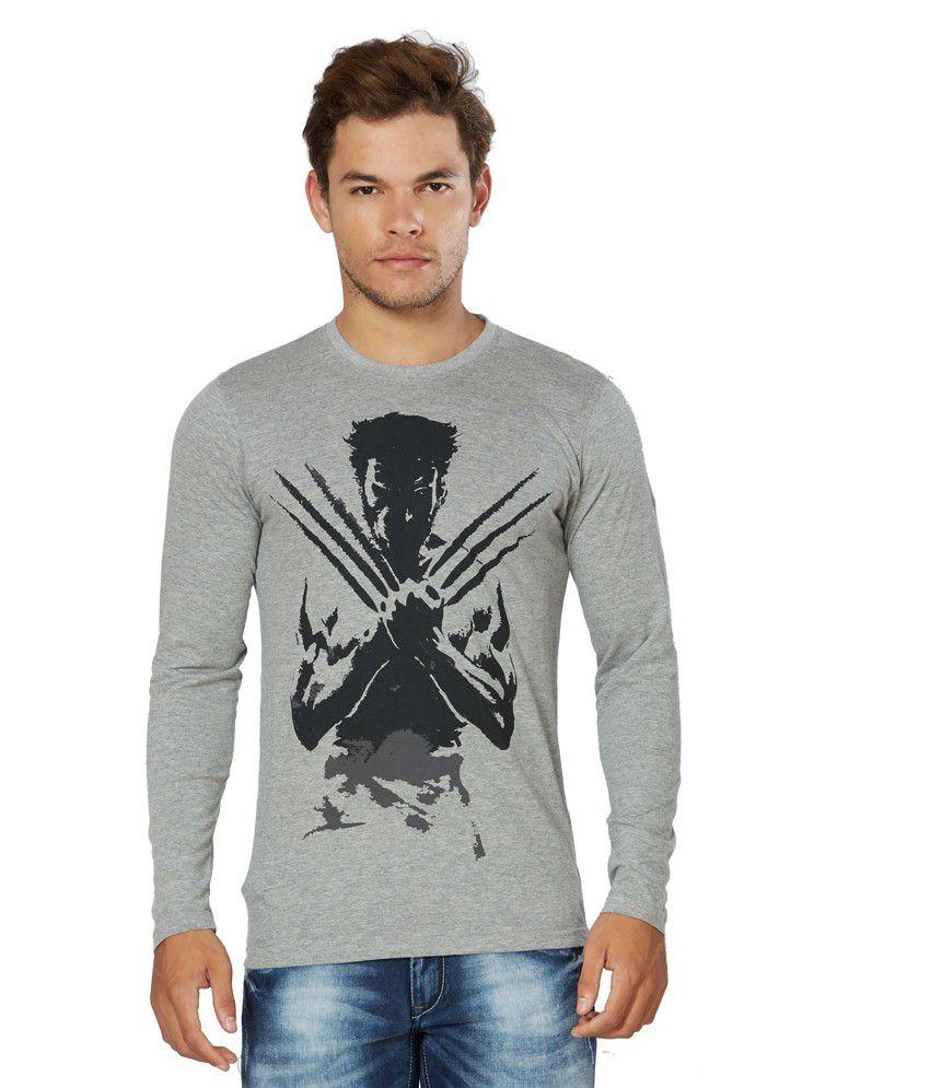 Alan Jones Gray Printed Cotton T-Shirt