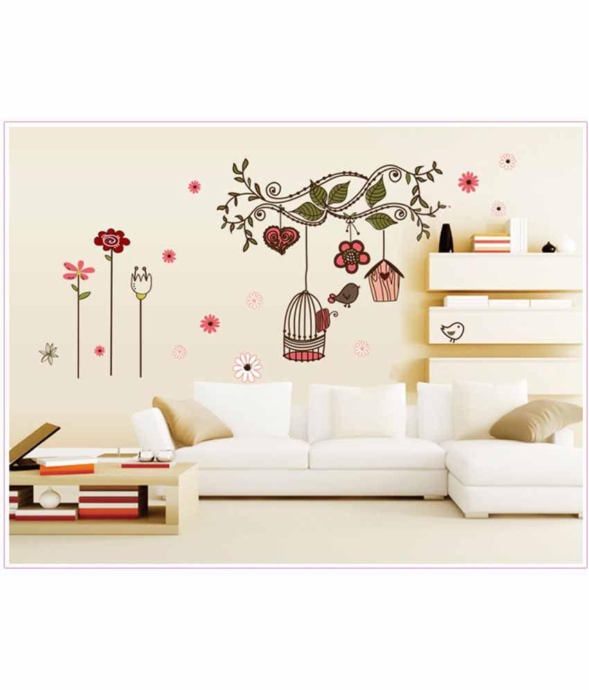 oren empower cosy living room bedroom tv background wall stickers oren empower cosy living room bedroom tv background wall stickers with pink birdcage