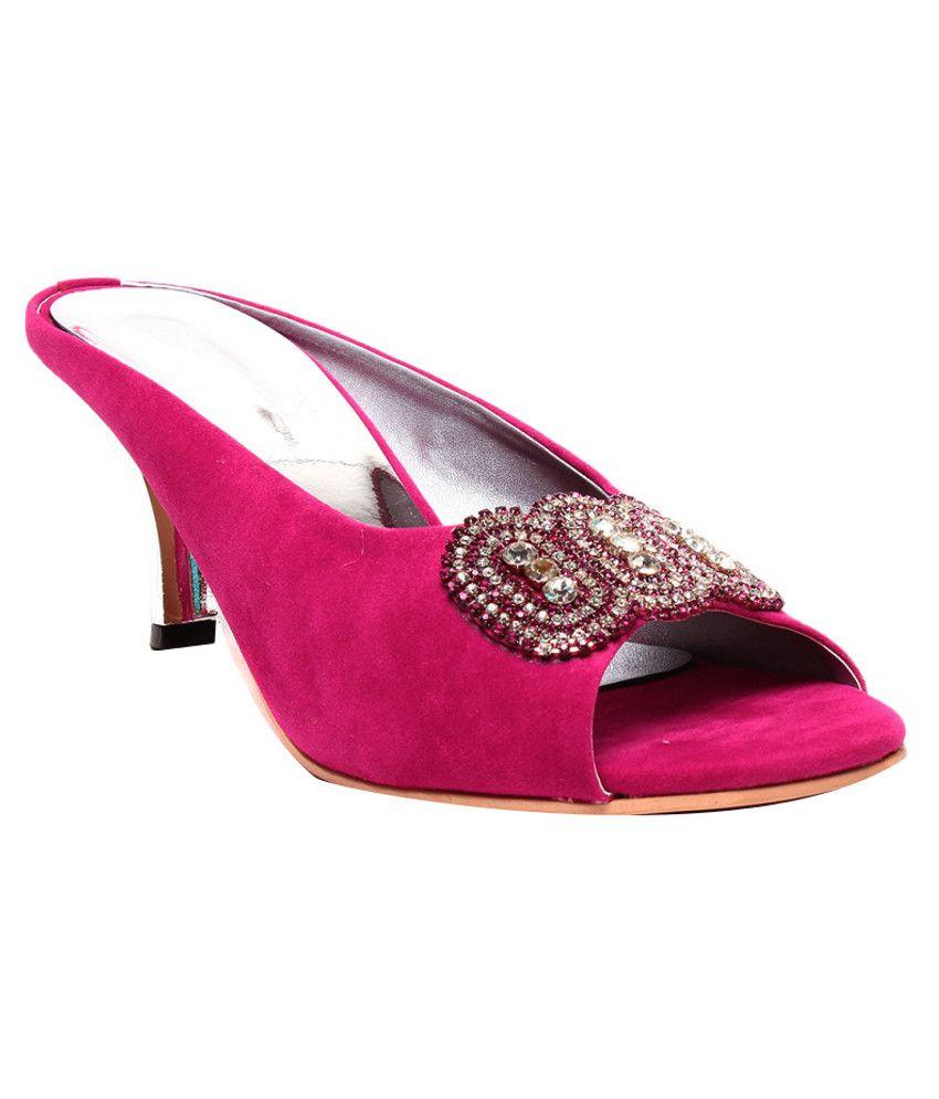Ruby Stunning Pink Heeled Slip-Ons