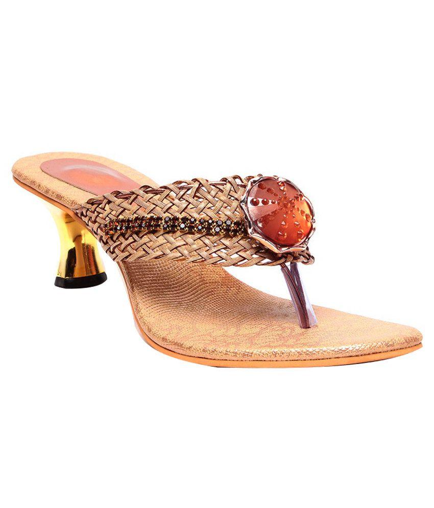 Ruby Trendy Brown Heeled Slip-Ons