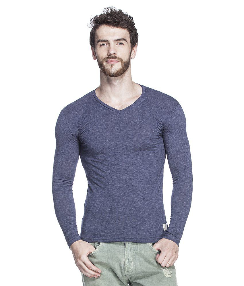 Tinted Navy Cotton Blend Full Sleeves T Shirt