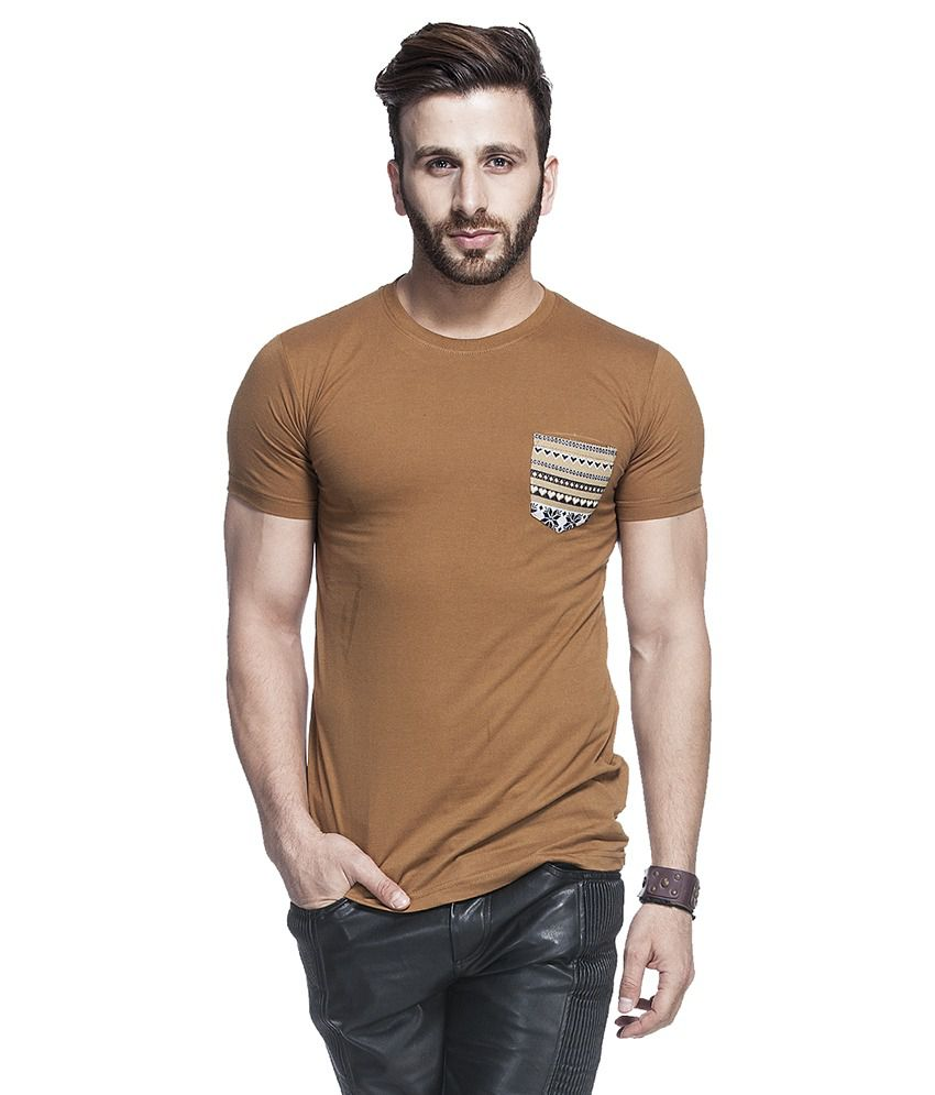Tinted Tan Cotton Blend Half Sleeves T Shirt