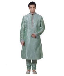 Amafhh Green Art Dupion Silk Kurta Pyjama