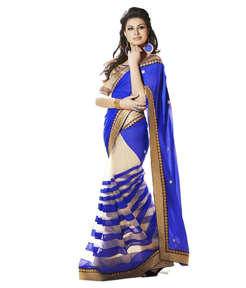Fashion Designer Sarees Blue Net Saree - Buy Fashion ...