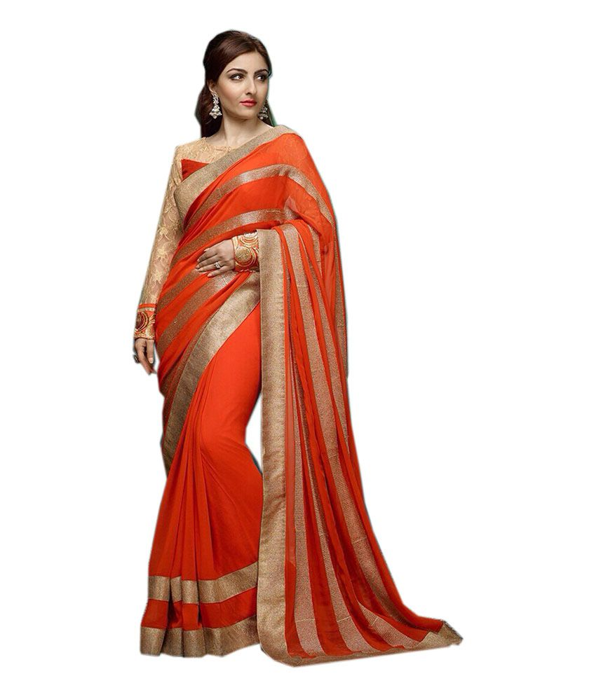 Fashion Designer Sarees Orange Faux Georgette Saree - Buy ...