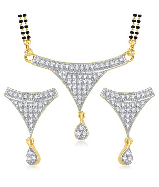 Meenaz Just Like Diamonds Contemporary Golden Mangalsutra Set
