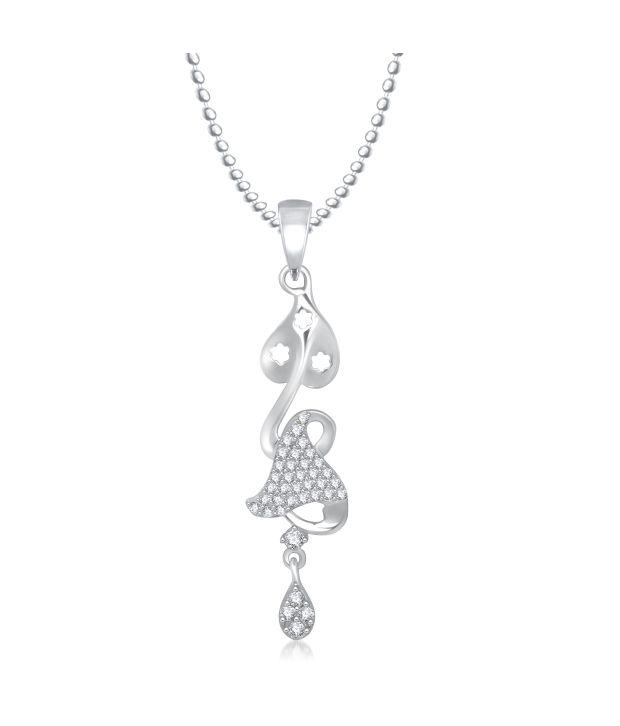 Meenaz Just Like Diamonds Contemporary Golden CZ Pendant Wi...