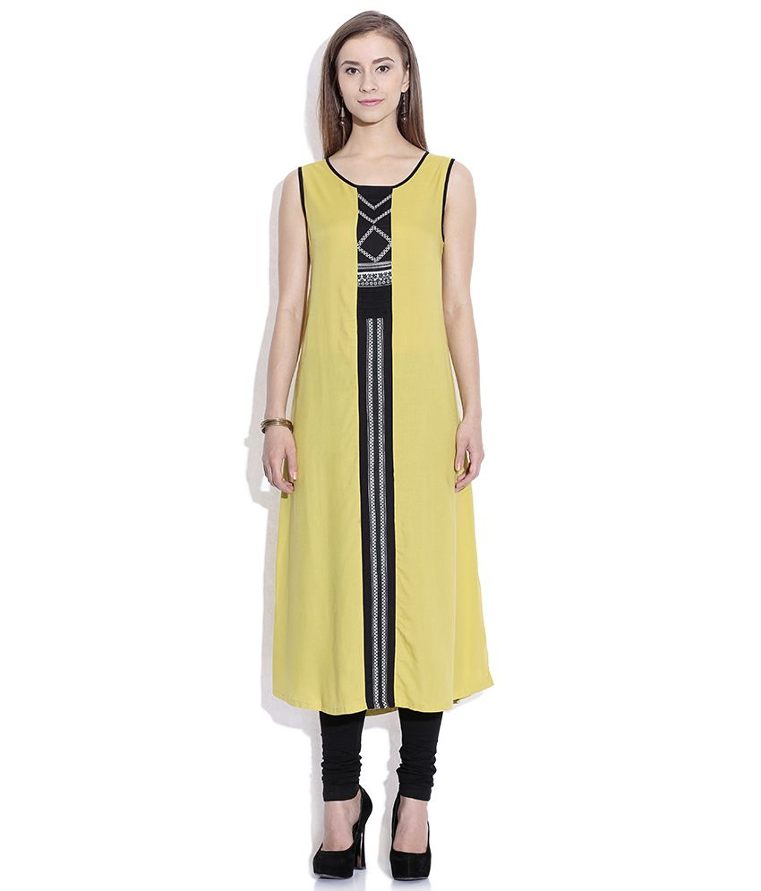 97d00b03e W Mustard Yellow   Black Printed Kurta - Buy W Mustard Yellow   Black  Printed Kurta Online at Best Prices in India on Snapdeal