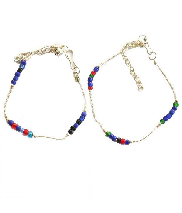 Beadworks Stunning Beaded Multicolor Silver Finish Anklets