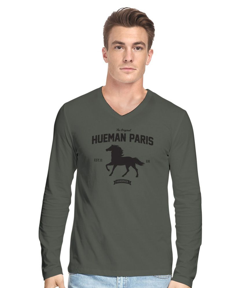 Hueman Gray Printed V Neck T Shirt For Men Buy Hueman