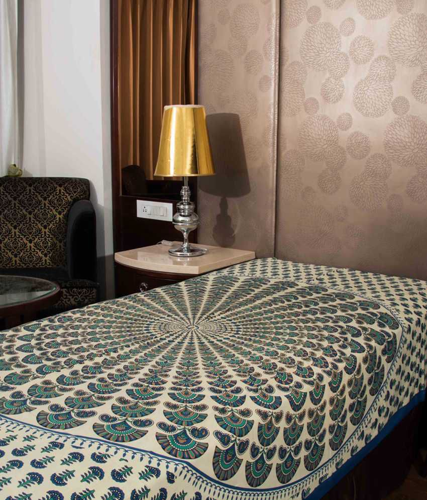 Kismat Collection Blue Jaipuri Printed New Traditional Checkered Single Bed Sheet