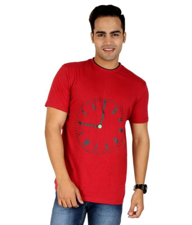 PRO Lapes Maroon Cotton Half T-Shirt For Men