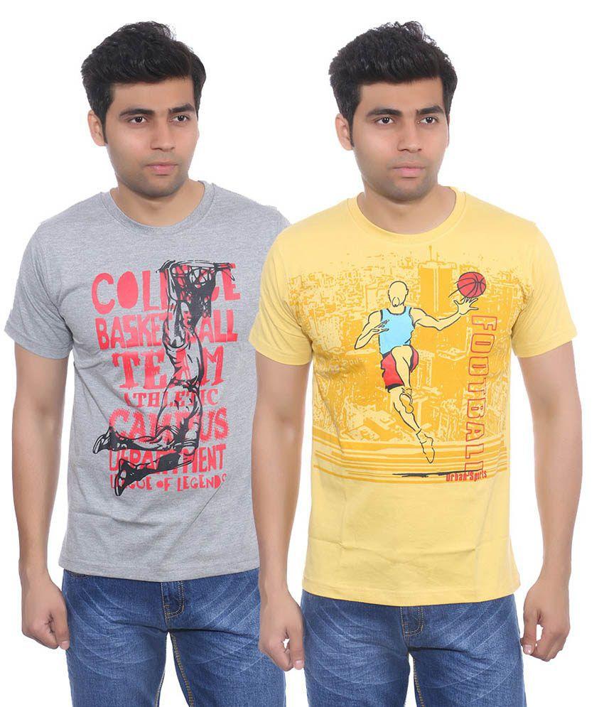 Studio Nexx Men's Round Neck Cotton T Shirt (Combo Pack of 2) - Multicolor