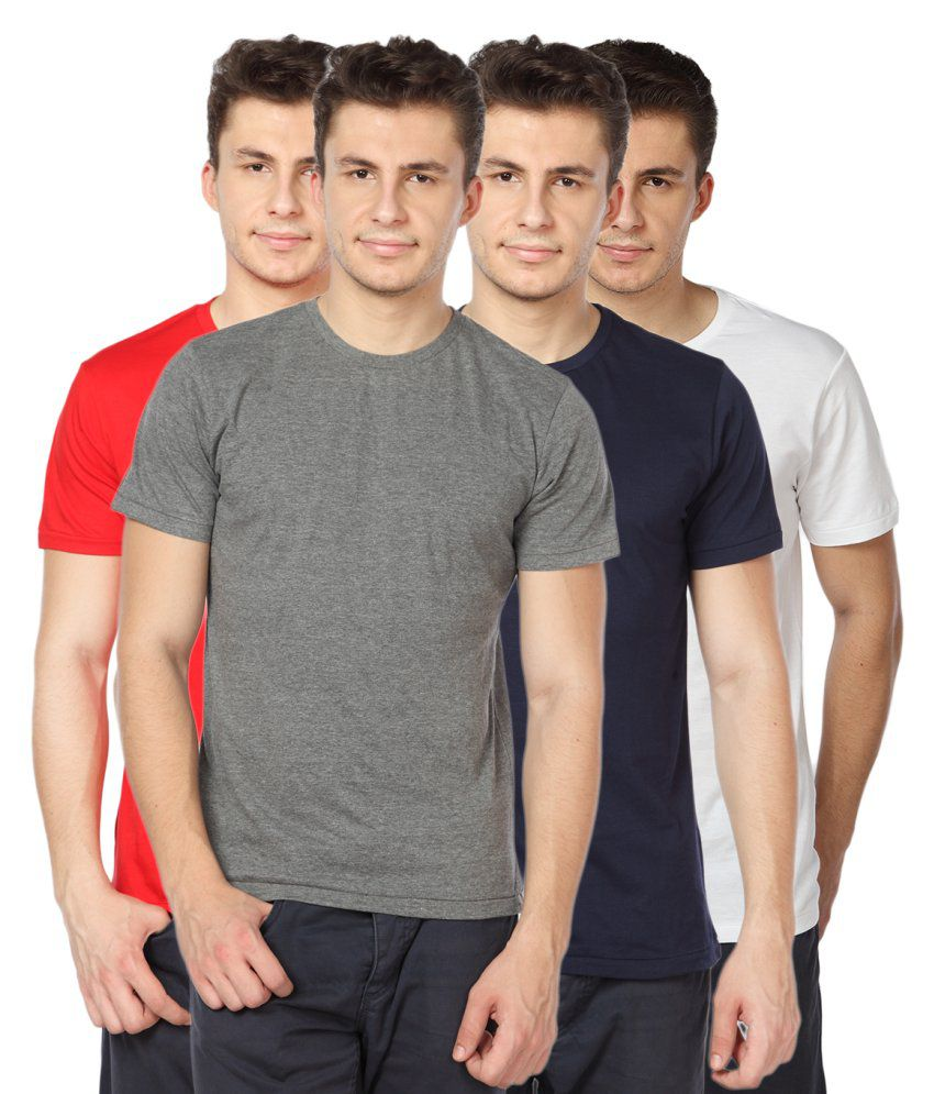 TOMO Multicolour Cotton Round Neck Men T Shirt Combo of 4