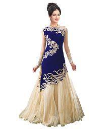 City Shop Blue & Beige Net Gown For Women