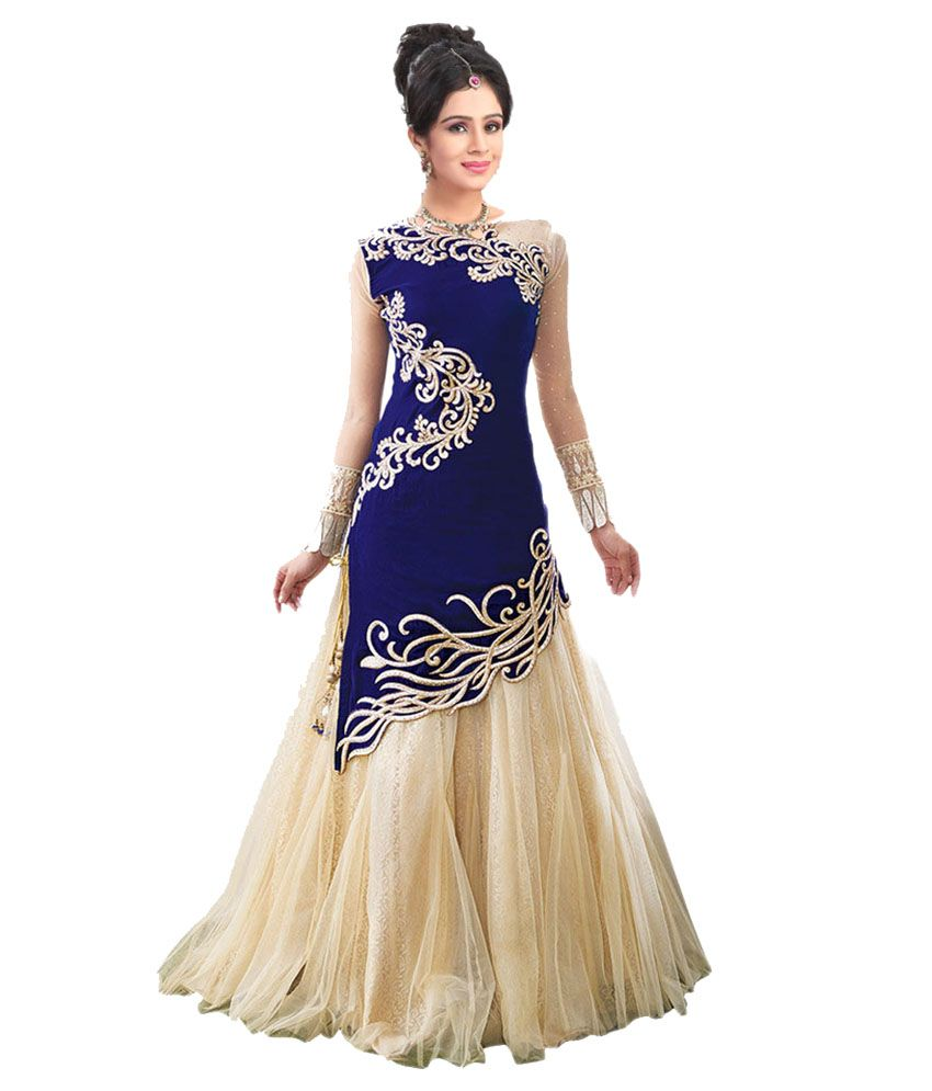 City Shop Blue & Beige Net Gown For Women - Buy City Shop Blue ...